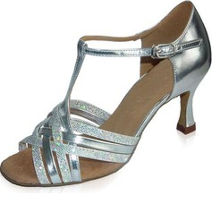 Women's Sparkling Glitter Patent Leather Heels Sandals Latin Wedding Party With T-Strap Dance Shoes
