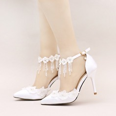 Women's Satin Stiletto Heel Closed Toe Pumps With Flower Lace-up