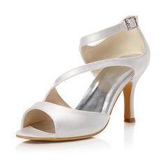 Frauen Satin Stöckel Absatz Peep Toe Sandalen mit Schnalle