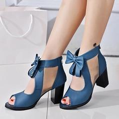 Frauen Kunstleder Stämmiger Absatz Sandalen Absatzschuhe Peep Toe mit Bowknot Schuhe