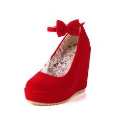 Kadın Suni deri Dolgu Topuk Kapalı Toe Takozlar Ile İlmek ayakkabı