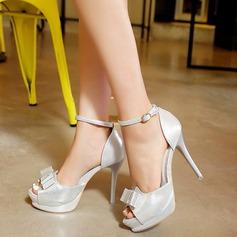 Femmes Similicuir Talon stiletto Sandales avec Bowknot Boucle chaussures