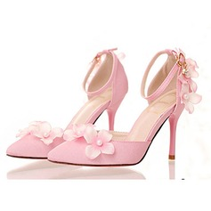 Women's Leatherette Stiletto Heel Closed Toe Pumps With Buckle Imitation Pearl Flower