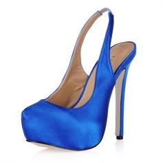 Women's Silk Like Satin Stiletto Heel Closed Toe Platform Pumps Slingbacks