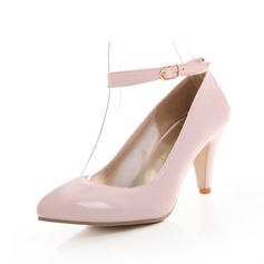 Patent Leather Cone Heel Pumps Closed Toe With Buckle shoes