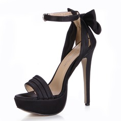 Silk Like Satin Stiletto Heel Sandals Platform Peep Toe With Bowknot Buckle shoes