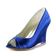 Vrouwen Satijn Wedge Heel Peep Toe Sandalen