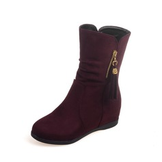 Women's Suede Flat Heel Mid-Calf Boots shoes