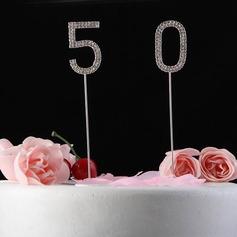 Shining Rhinestones Number Chrome Anniversary Cake Topper