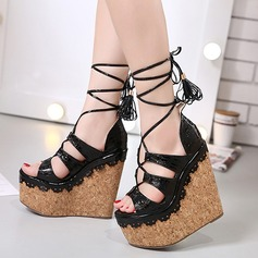 Women's Real Leather Wedge Heel Sandals Platform Wedges Peep Toe With Hollow-out Braided Strap shoes