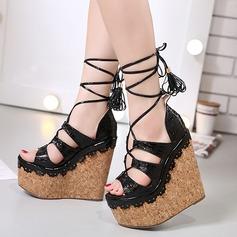 Femmes Vrai cuir Talon compensé Sandales Plateforme Compensée À bout ouvert avec Ouvertes Lanière tressé chaussures