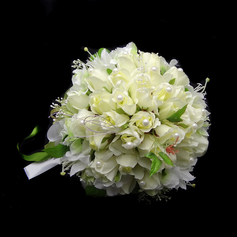 Elegant Hand-tied Satin/Cotton Bridal Bouquets