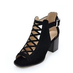 Femmes Suède Talon bottier Sandales Escarpins À bout ouvert avec Boucle Ouvertes chaussures