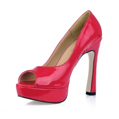 Patent Leather Chunky Heel Peep Toe Platform Sandals