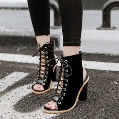 Kvinnor Konstläder Tjockt Häl Sandaler Pumps Peep Toe Slingbacks Boots med Bandage skor