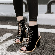 Frauen Kunstleder Stämmiger Absatz Sandalen Absatzschuhe Peep Toe Slingpumps Stiefelette mit Zuschnüren Schuhe