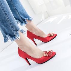 Women's Silk Stiletto Heel Pumps Closed Toe With Rhinestone shoes