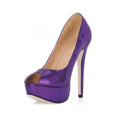 Women's Leatherette Stiletto Heel Peep Toe Platform Sandals