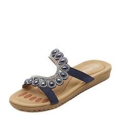 Femmes Similicuir Talon plat Sandales Chaussures plates À bout ouvert avec Strass Perle d'imitation chaussures
