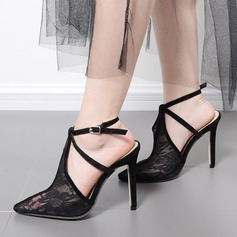 Women's Lace Stiletto Heel Sandals Pumps Closed Toe With Stitching Lace shoes
