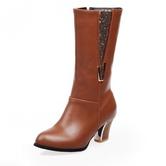 Women's Leatherette Chunky Heel Pumps Closed Toe Knee High Boots With Sparkling Glitter Zipper shoes