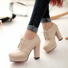 Donna Similpelle Tacco spesso Stiletto con Allacciato scarpe