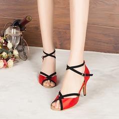 Women's Satin Suede Heels Sandals Pumps Latin Modern Party Dance Shoes