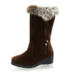 Suede Flat Heel Mid-Calf Boots Snow Boots With Fur shoes
