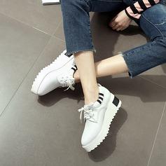 Kvinnor Konstläder Kilklack Plattform Stängt Toe Kilar med Bandage skor