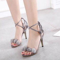 Women's Suede Stiletto Heel Sandals Pumps Peep Toe With Lace-up shoes