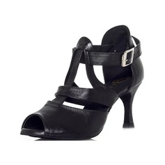 Women's Real Leather Heels Sandals Latin With Buckle Dance Shoes