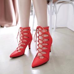 Dla kobiet PU Obcas Stiletto Czólenka Zakryte Palce Z Zamek błyskawiczny Sznurowanie obuwie