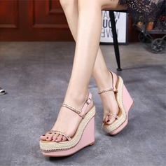 Women's PU Wedge Heel Sandals Wedges Peep Toe Slingbacks With Buckle shoes