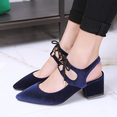 Women's Chunky Heel Sandals Flats With Lace-up shoes
