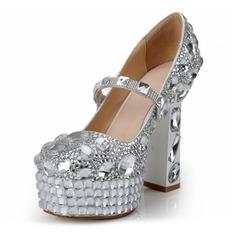 Women's Patent Leather Chunky Heel Platform Pumps With Rhinestone