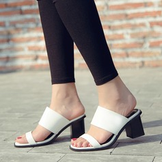 Women's Leatherette Chunky Heel Sandals Peep Toe Slippers shoes