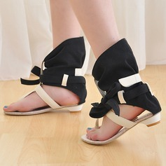 Women's Flat Heel Sandals Peep Toe With Bowknot Hollow-out shoes