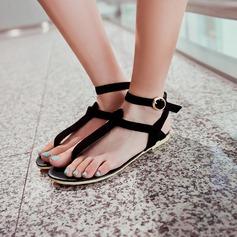 Women's Suede Flat Heel Flats Slingbacks With Buckle shoes