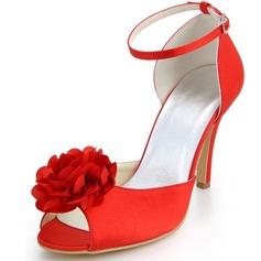 Women's Satin Stiletto Heel Peep Toe Pumps Sandals With Buckle Satin Flower