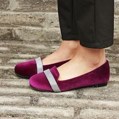 Frauen Veloursleder Flascher Absatz Flache Schuhe mit Pailletten Schuhe