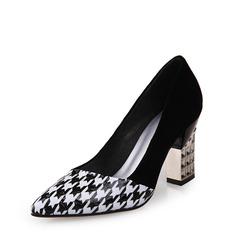 Vrouwen Patent Leather Chunky Heel Pumps Closed Toe met Gesplitste Stof schoenen