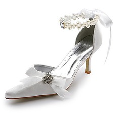 Women's Satin Spool Heel Closed Toe Pumps With Imitation Pearl Rhinestone Ribbon Tie