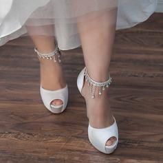 Kvinnor Satäng Stilettklack Peep Toe Pumps Sandaler med Strass