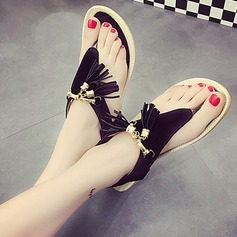 Women's Suede Flat Heel Sandals Peep Toe Slingbacks With Chain Tassel Elastic Band shoes