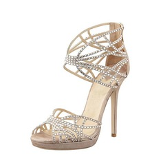 Women's Leatherette Stiletto Heel Peep Toe Pumps Sandals With Rhinestone Hollow-out