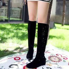Women's Suede Wedge Heel Wedges Boots Knee High Boots Mid-Calf Boots With Hollow-out shoes