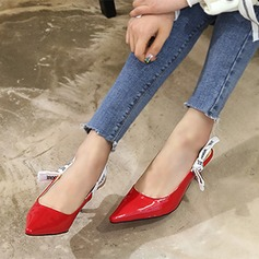Women's Leatherette Cloth Stiletto Heel Pumps Closed Toe Slingbacks With Bowknot shoes