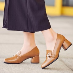 Women's Leatherette Chunky Heel Pumps Closed Toe With Buckle shoes