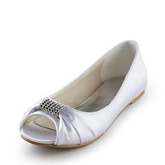 Frauen Satin Flascher Absatz Peep Toe Sandalen mit Strass