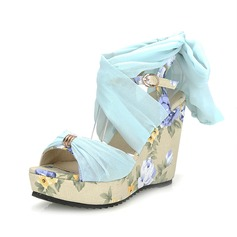 Leatherette Wedge Heel Sandals Slingbacks With Buckle shoes